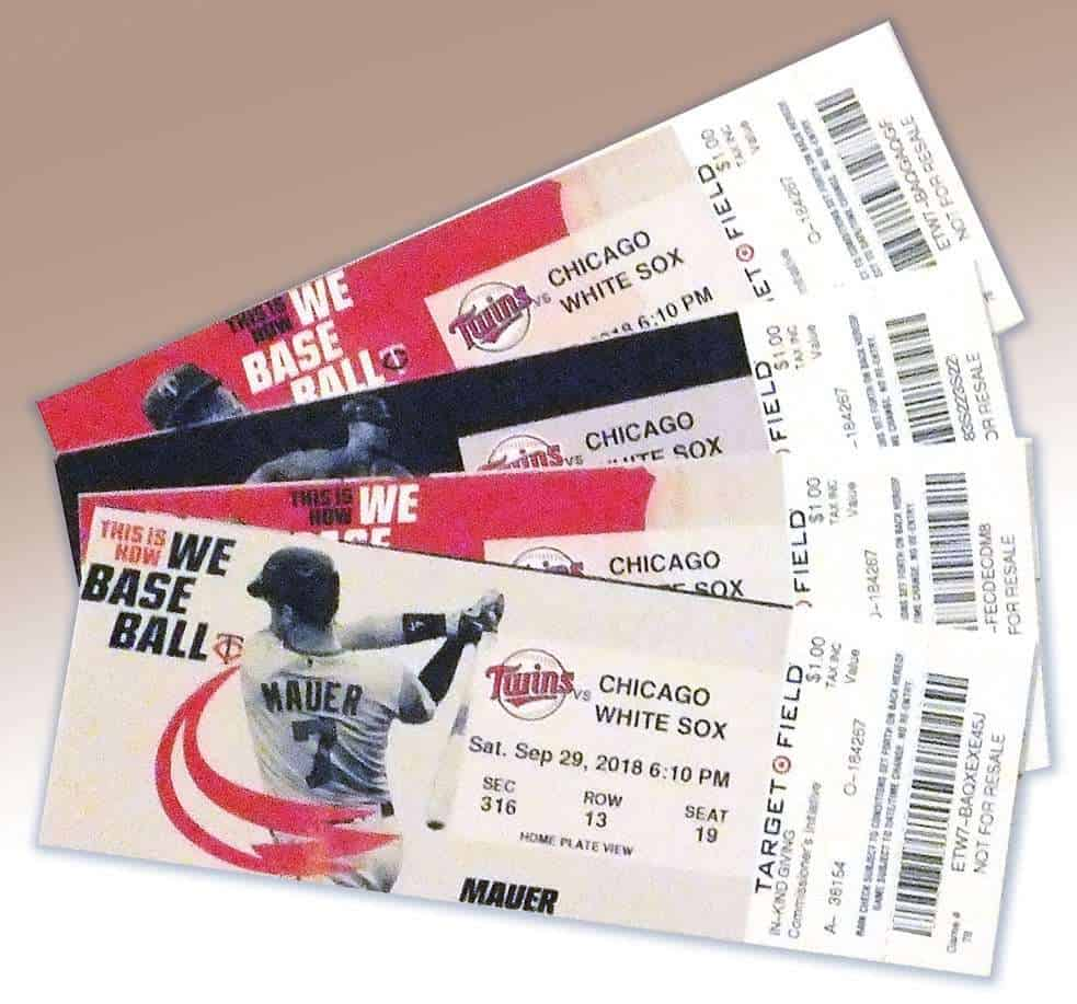 8 mn twins tickets donated to silent auction church of st matthew