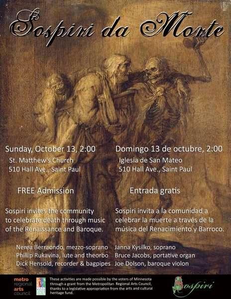 Poster for Sospiri da Morte, A Concert of Baroque Music at the Church of St. Matthew, 10/13/2019